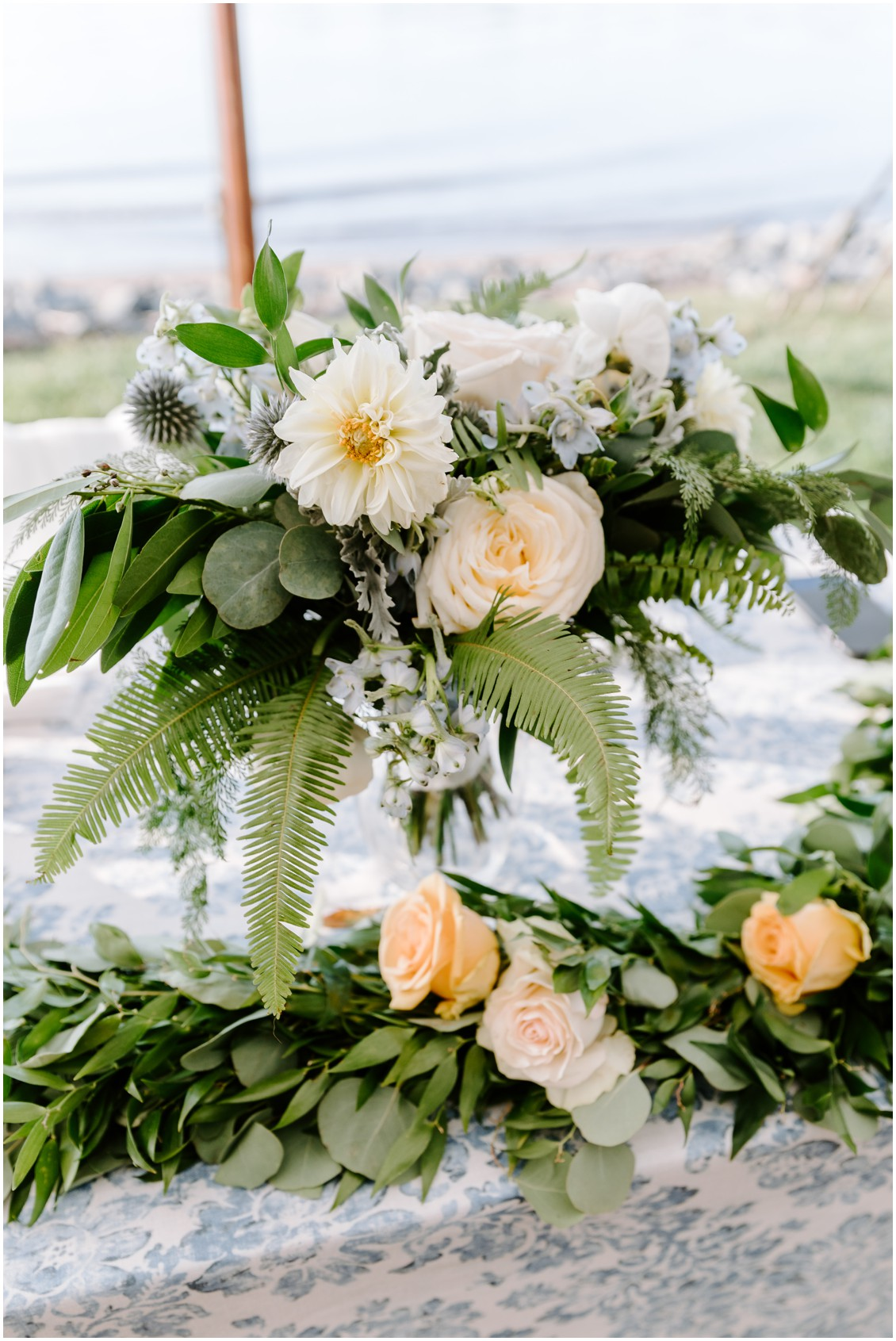 Detail of bridal bouquet and table swag | My Eastern Shore Wedding | Sherwood Florist | Eastern Shore Tents and Events