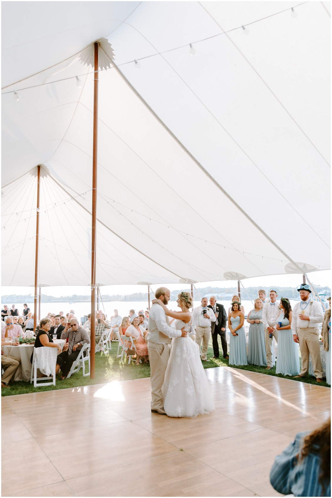 Bride and groom first dance in tent | My Eastern Shore Wedding | Sherwood Florist | Eastern Shore Tents and Events