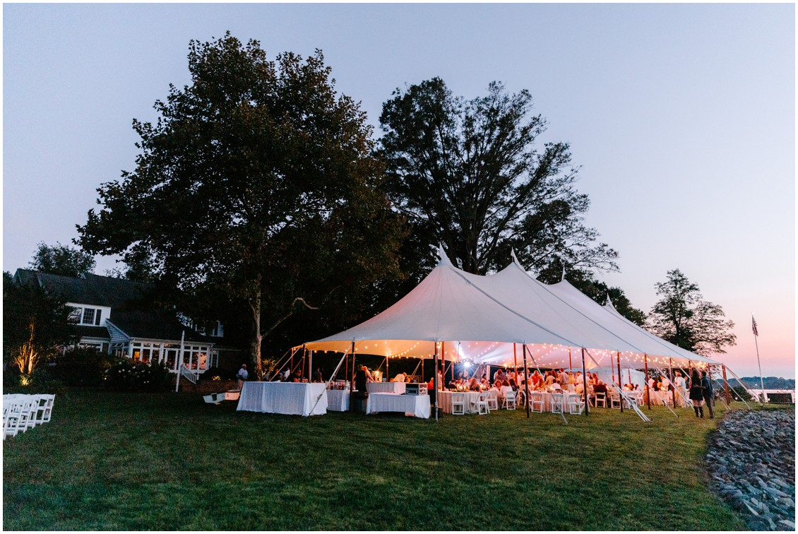 Tent at sunset by the water| My Eastern Shore Wedding | Eastern Shore Tents and Events