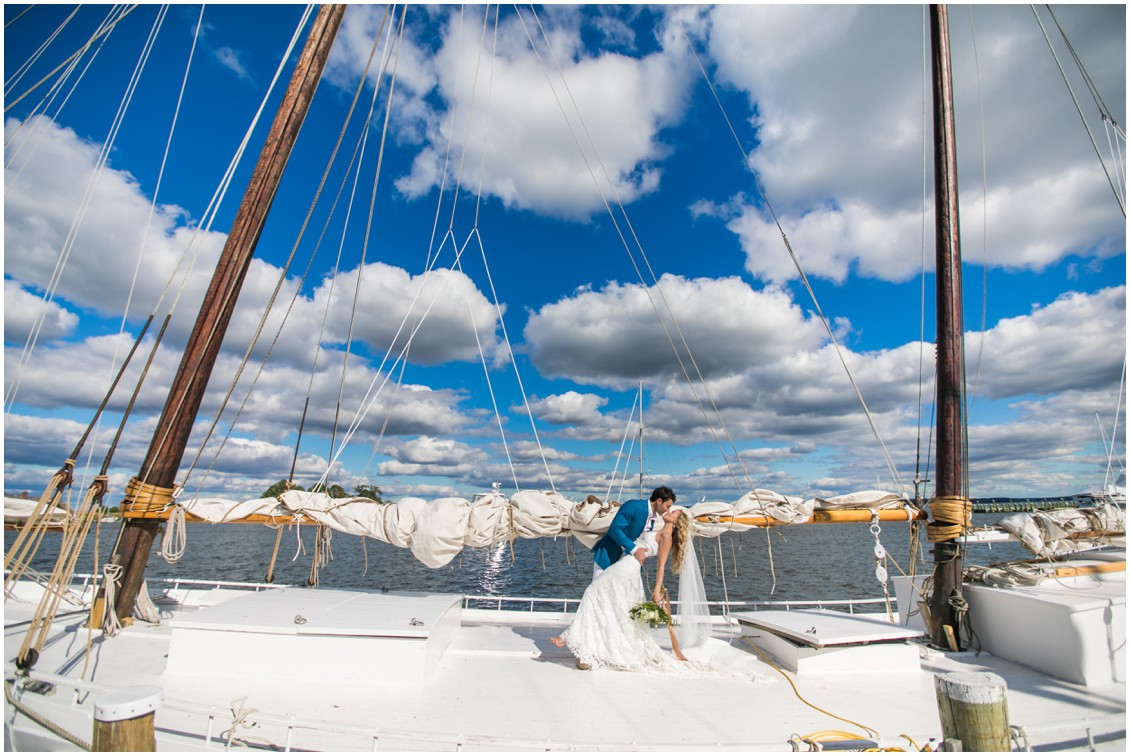 Bride and groom portrait on Chesapeake Bay skipjack | My Eastern Shore Wedding | Chesapeake Bay Maritime Museum