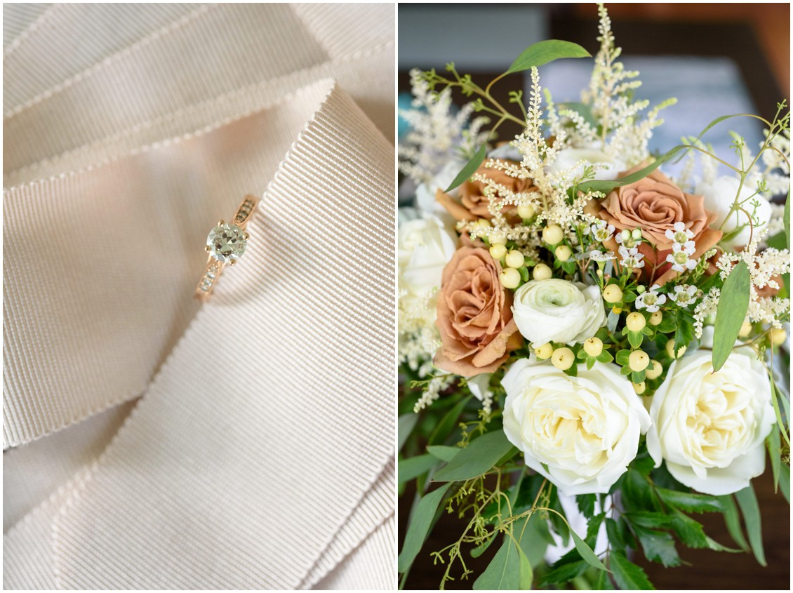 Engagement ring detail and bridal bouquet | My Eastern Shore Wedding | J. Nicole Photography