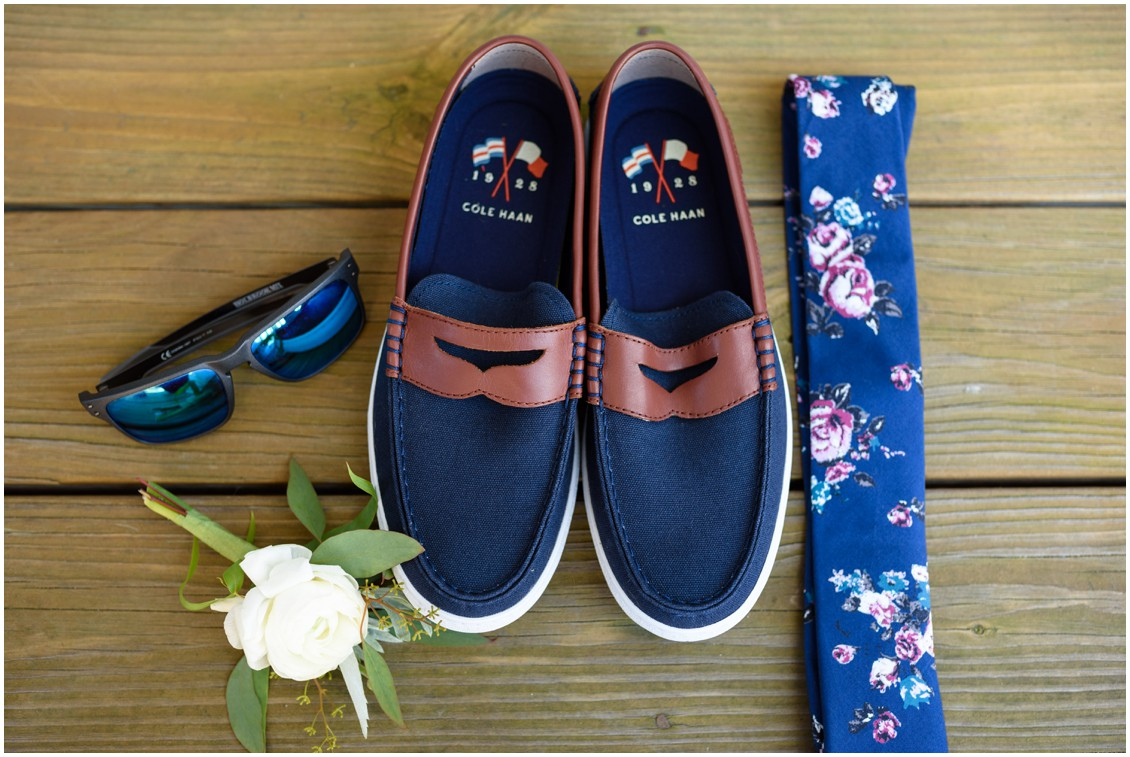 Details of groom boat shoes  and floral tie | My Eastern Shore Wedding | J. Nicole Photography