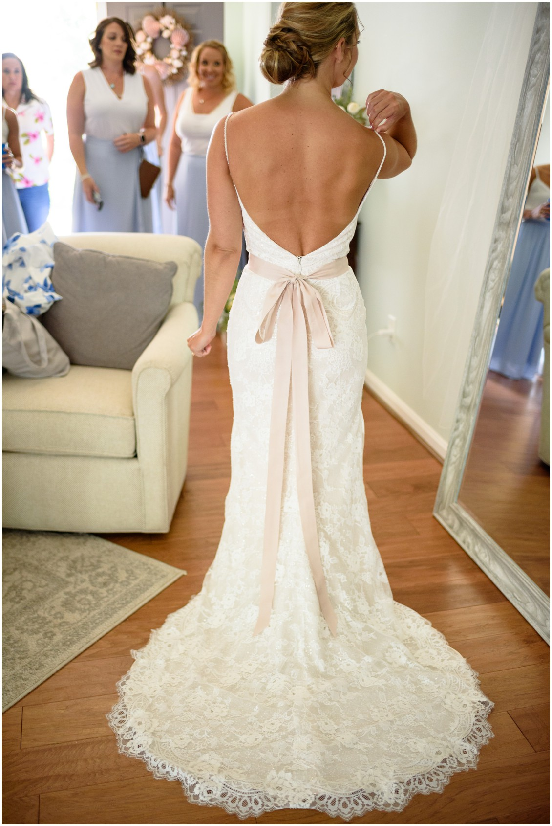 Bride portrait from the back | My Eastern Shore Wedding | J. Nicole Photography