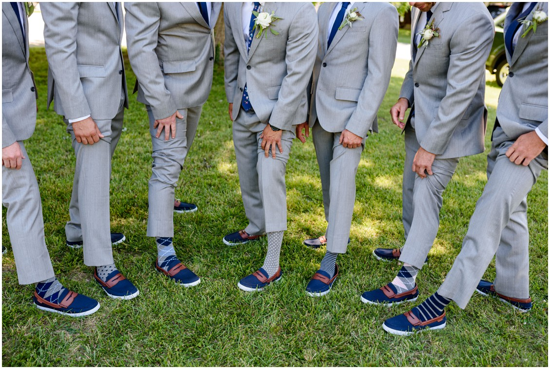 Groom with groomsmen shot of socks and boat shoes | My Eastern Shore Wedding | J. Nicole Photography