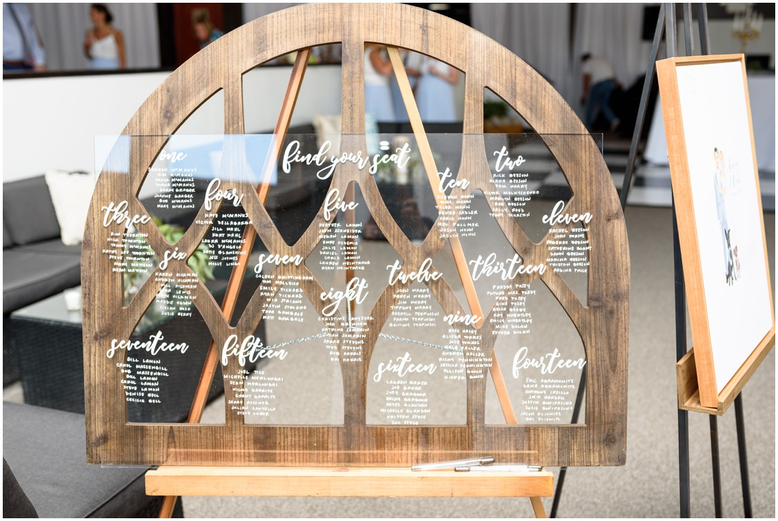Decorative window with place seating chart | My Eastern Shore Wedding | J. Nicole Photography