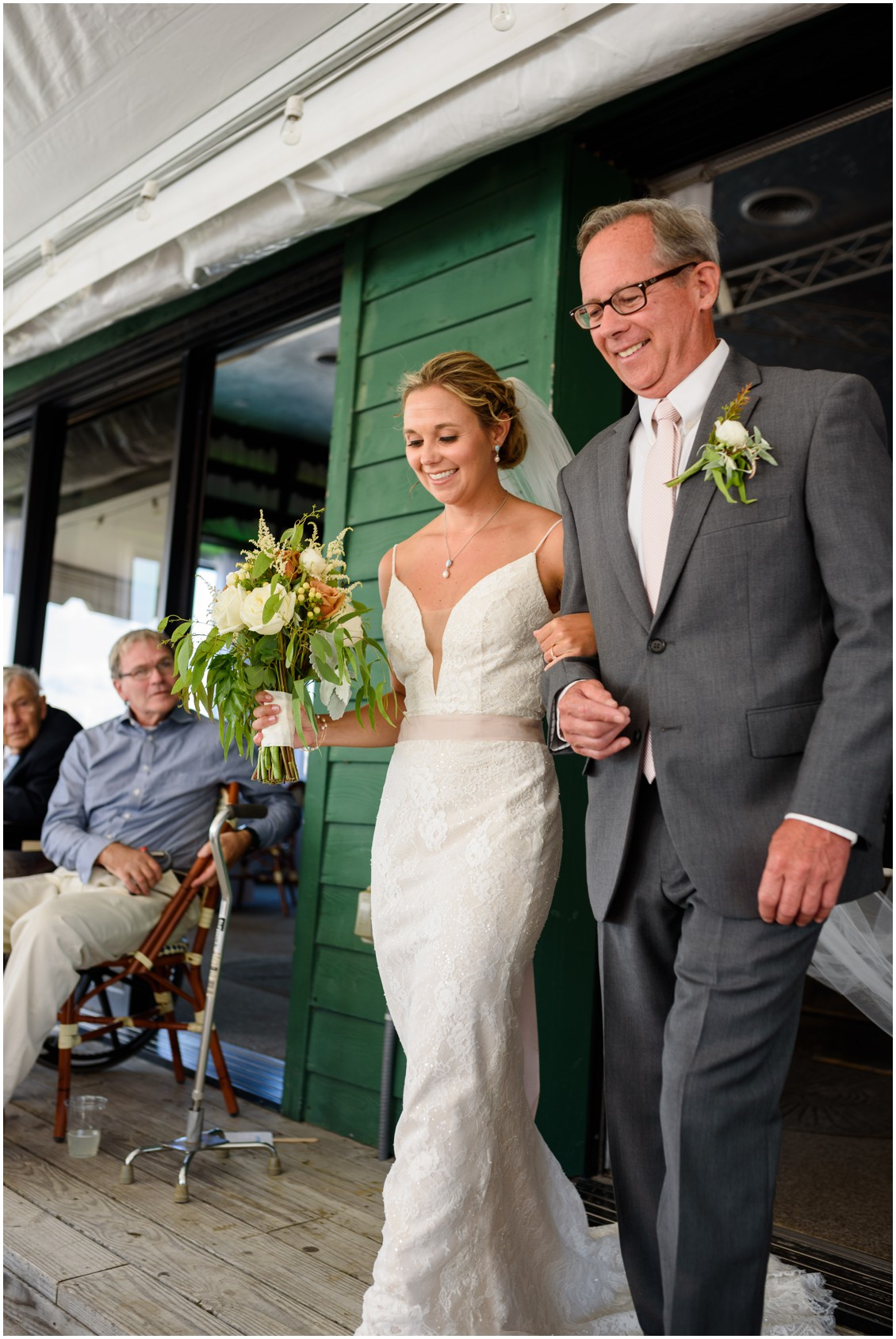 Bride and father walking up aisle| My Eastern Shore Wedding | J. Nicole Photography