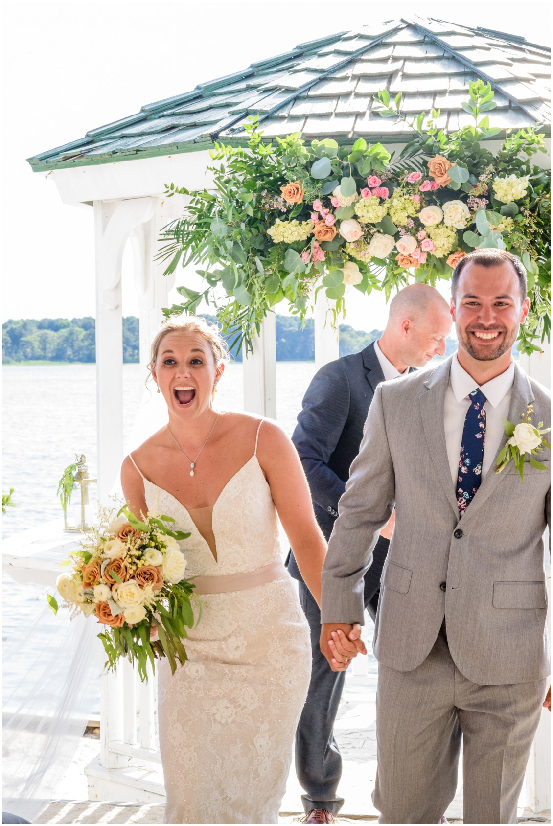 Bride and groom after wedding ceremony at summertime soirée | My Eastern Shore Wedding | J. Nicole Photography