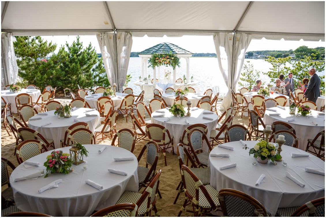 Wedding reception tables on beach | My Eastern Shore Wedding | J. Nicole Photography