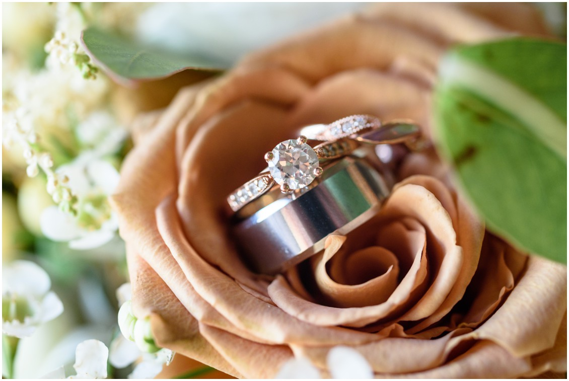 Wedding rings details on toffee roses| My Eastern Shore Wedding | J. Nicole Photography