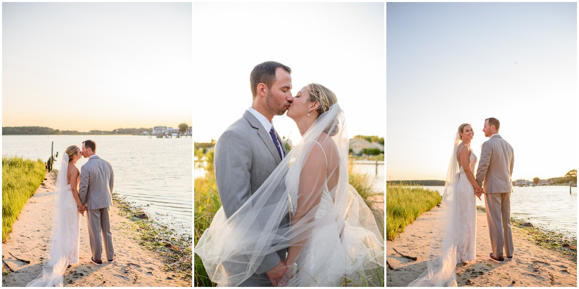 Bride and groom sunset portraits | My Eastern Shore Wedding | J. Nicole Photography