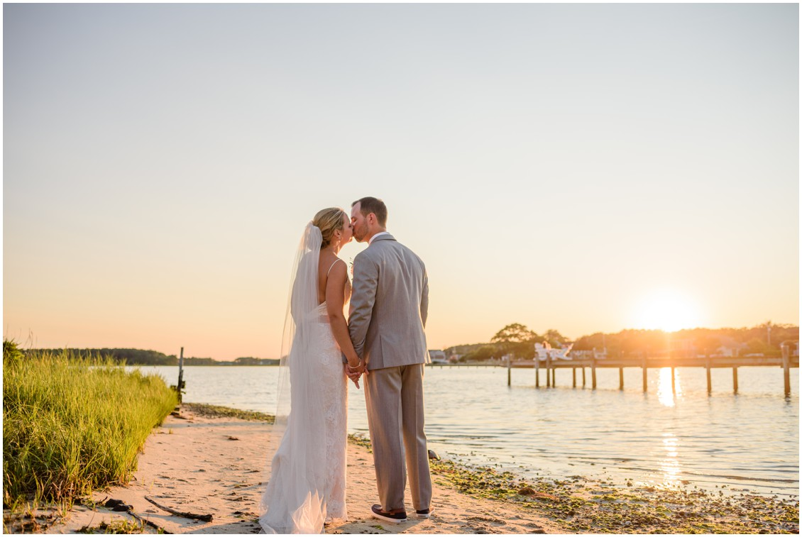 Bride and groom sunset portraits at beach | My Eastern Shore Wedding | J. Nicole Photography