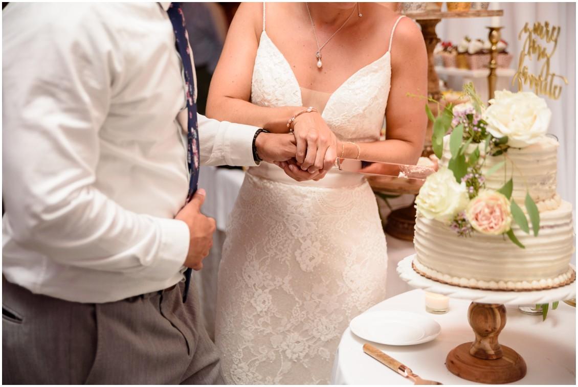 Bride and groom cutting cake | My Eastern Shore Wedding | J. Nicole Photography