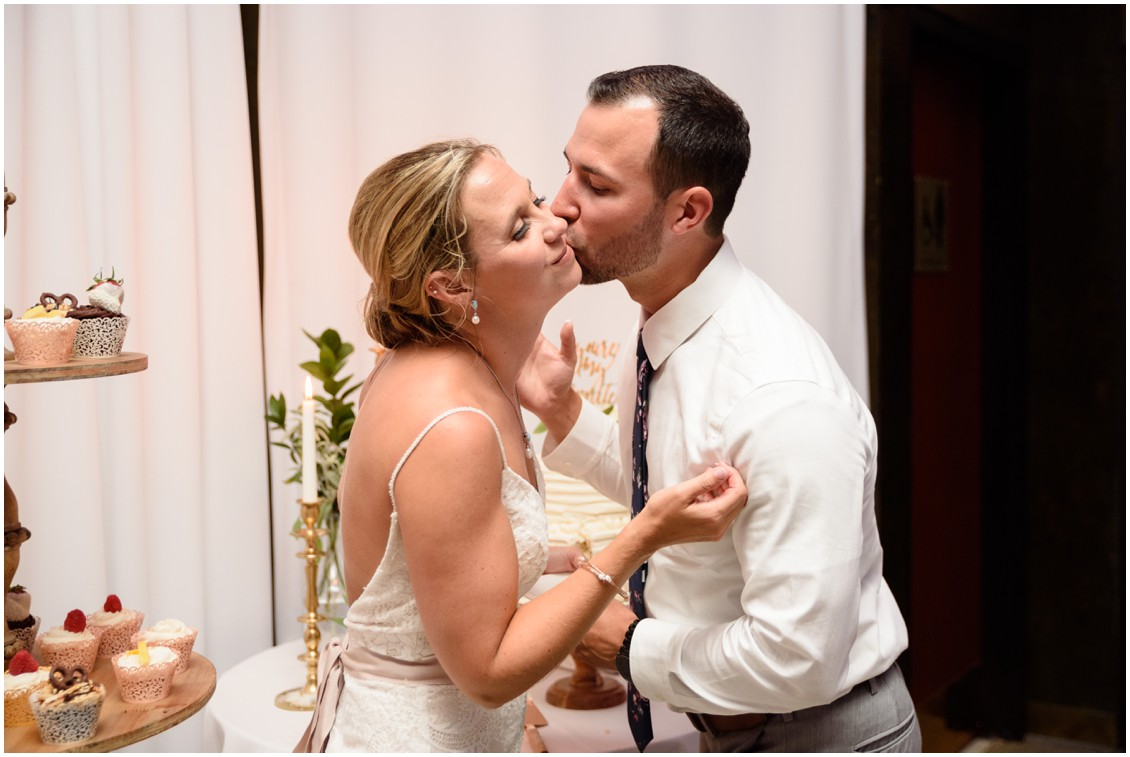 Bride and groom cutting cake| My Eastern Shore Wedding | J. Nicole Photography
