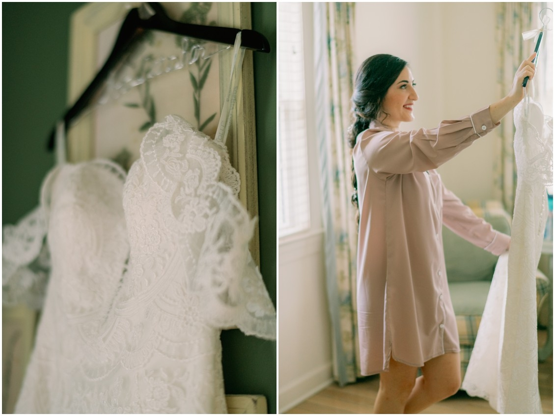 Bride with lace bridal gown | My Eastern Shore Wedding | The Oaks Waterfront Inn |
