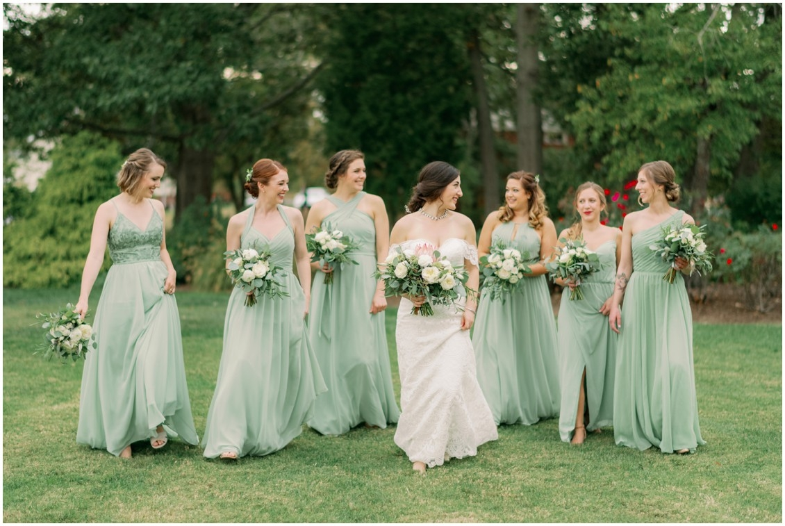 Bride with bridesmaids in soft green dresses | My Eastern Shore Wedding | The Oaks Waterfront Inn | J Starr's Flower Barn