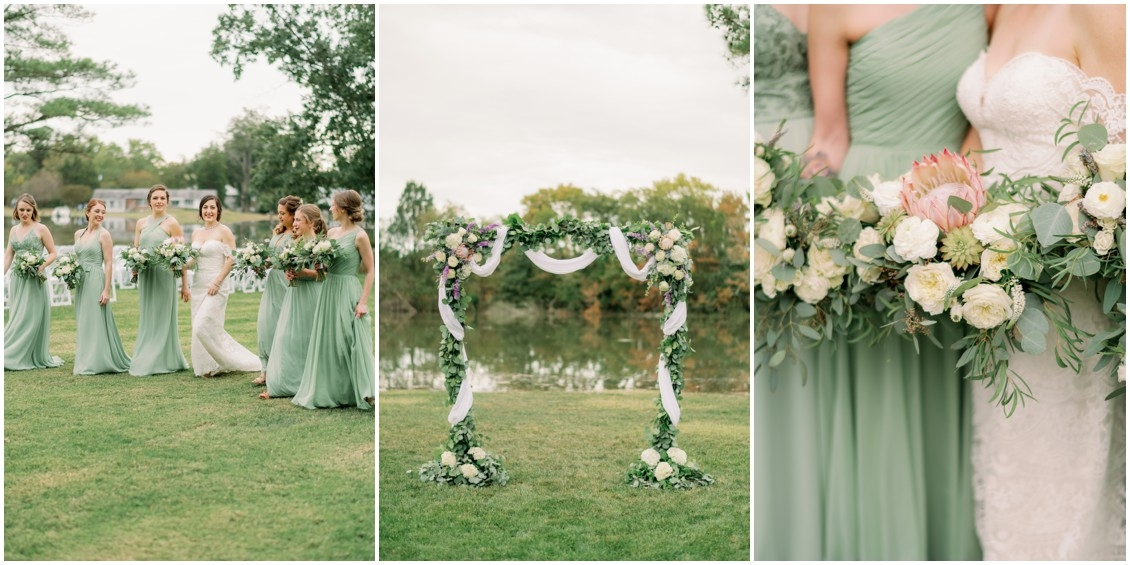 Floral arch, bridal bouquet with king protea and white flowers | My Eastern Shore Wedding | The Oaks | J Starr Flower Barn