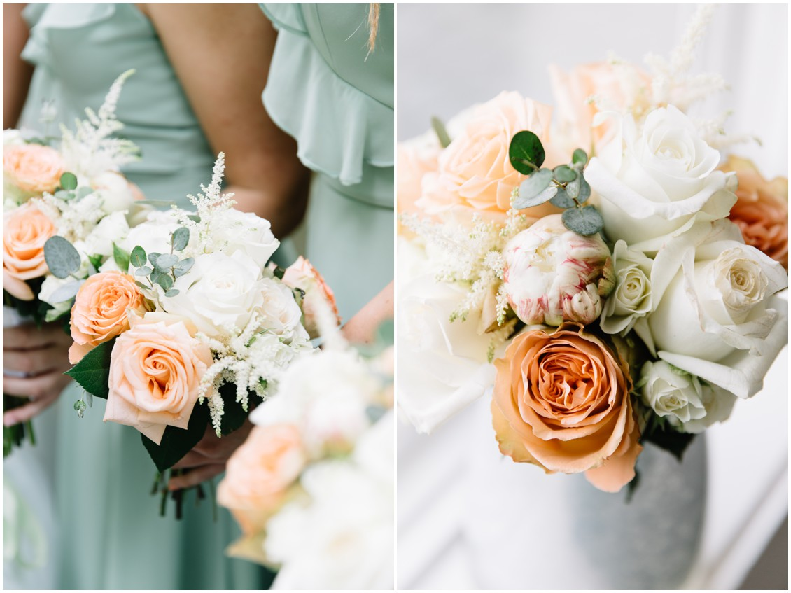 Bridal bouquets with white, peach and soft green | My Eastern Shore Wedding | The Clubhouse at Baywood
