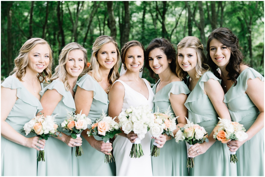 Bride with bridesmaids in soft green dresses | My Eastern Shore Wedding | The Clubhouse at Baywood