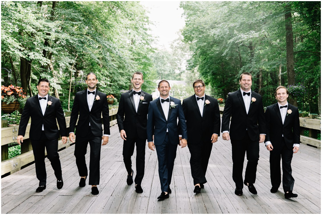 Groom with groomsmen in tuxes | My Eastern Shore Wedding | The Clubhouse at Baywood