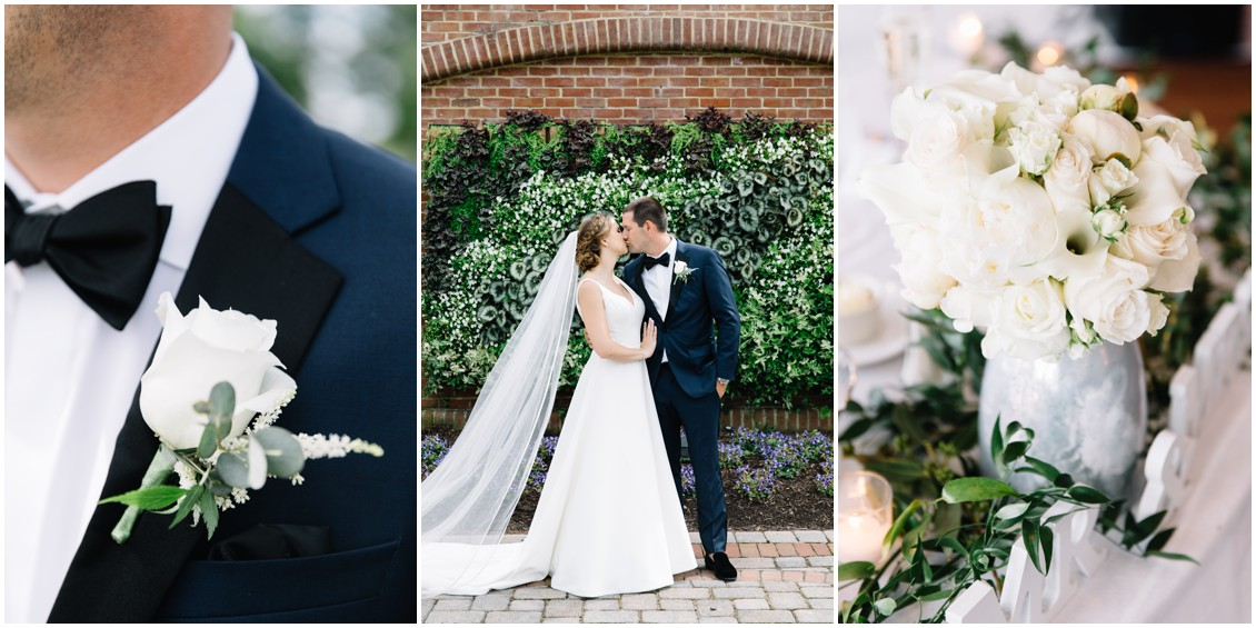 abundant beauty details groom's boutonniere, bride and groom kissing, floral details | My Eastern Shore Wedding | The Clubhouse at Baywood