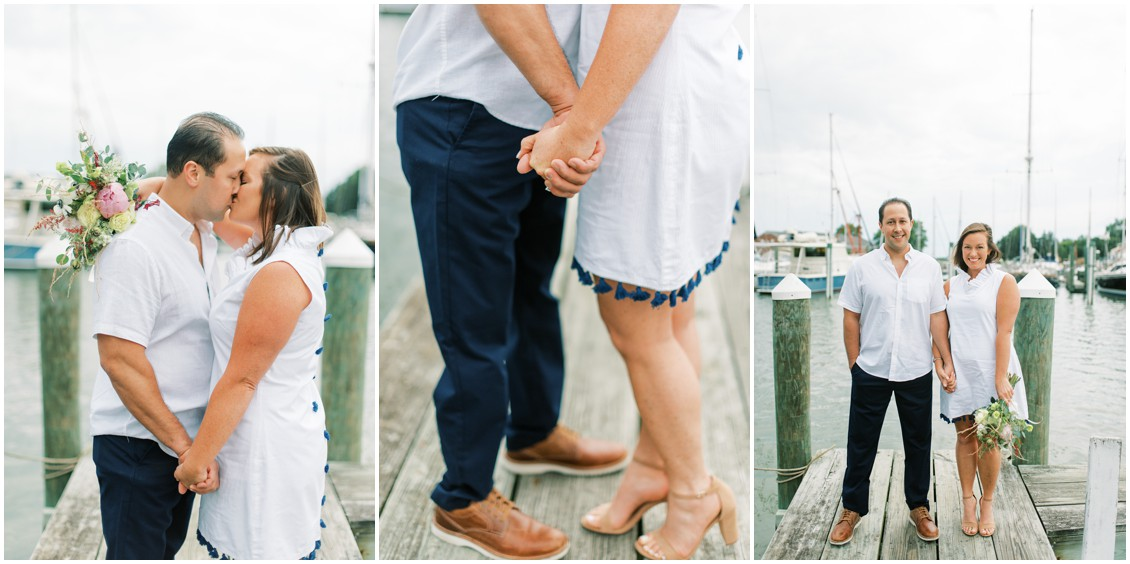 Couple kissing and holding hands on dock in Oxford| My Eastern Shore Wedding | Romantic Oxford engagement shoot