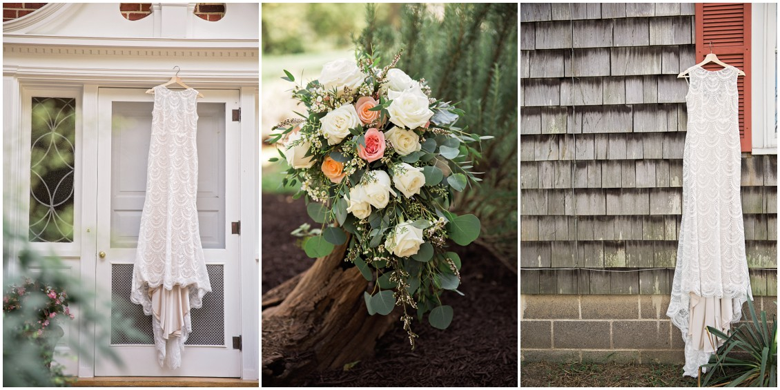 Wedding dress details and bridal bouquet | My Eastern Shore Wedding | Chelsea Fluharty Photography