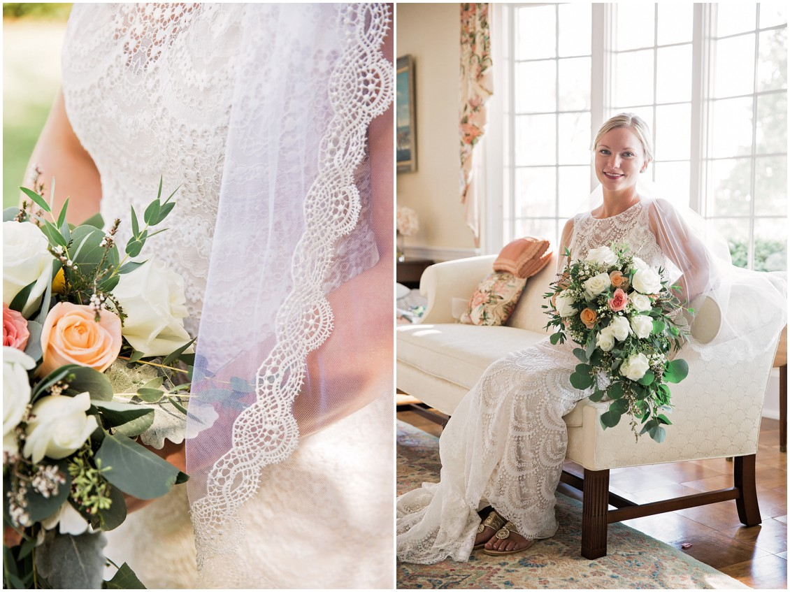 Bride in veil and wedding dress | My Eastern Shore Wedding | Chelsea Fluharty Photography