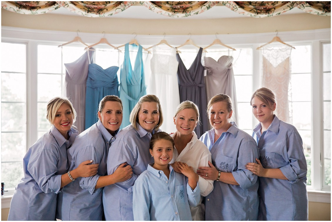 Bride with bridesmaids in matching blue shirts | My Eastern Shore Wedding | Chelsea Fluharty Photography