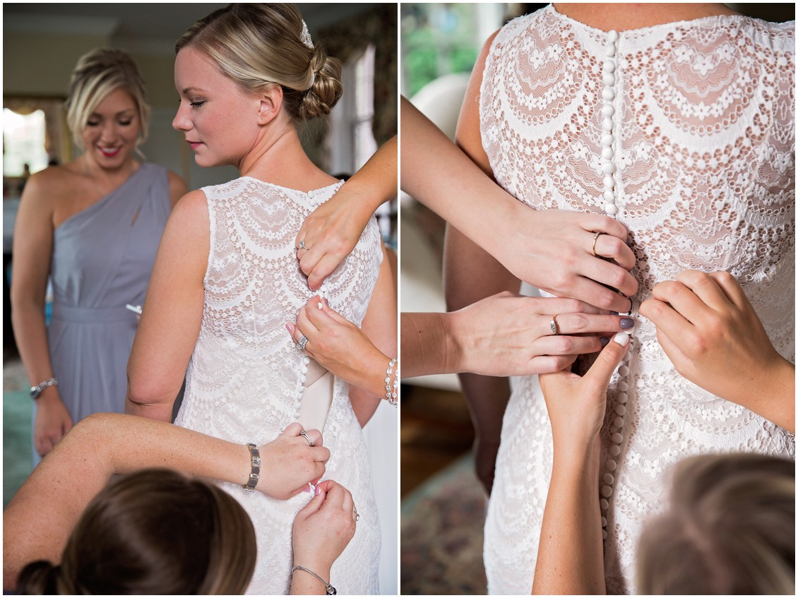Bride getting lace dress buttoned up | My Eastern Shore Wedding | Chelsea Fluharty Photography