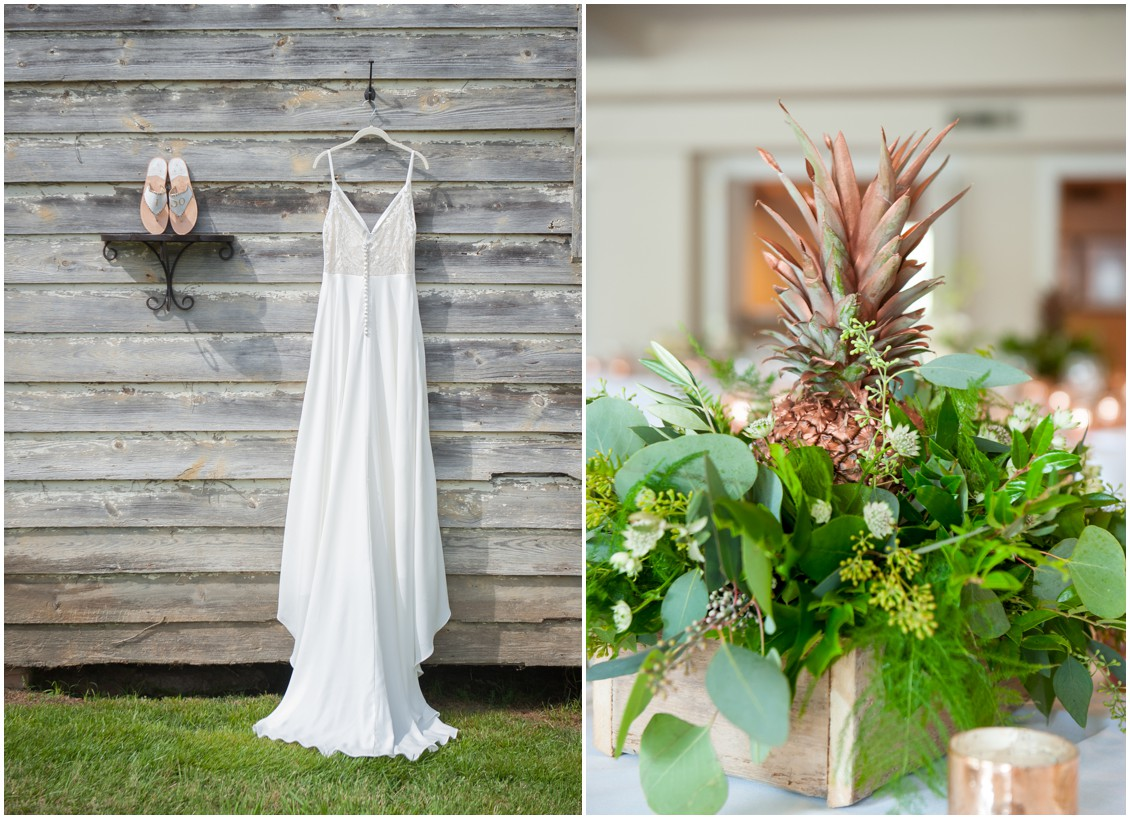 Pineapple Theme Wedding Bridal Gown and Pineapple Centerpiece | My Eastern Shore Wedding | The Oaks Waterfront Inn | Monteray Farms