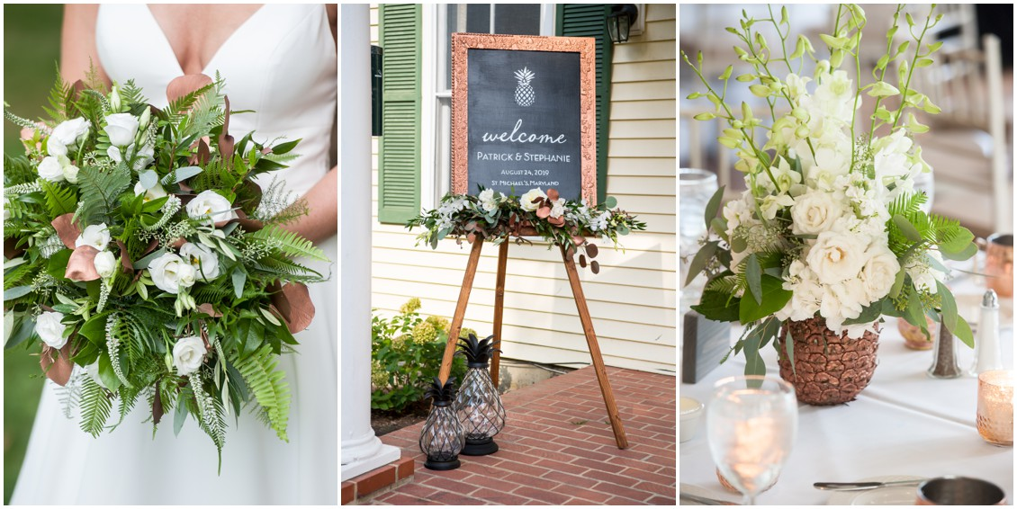 Bridal Bouquet, pineapple sign and Pineapple Centerpiece | My Eastern Shore Wedding | The Oaks Waterfront Inn | Monteray Farms