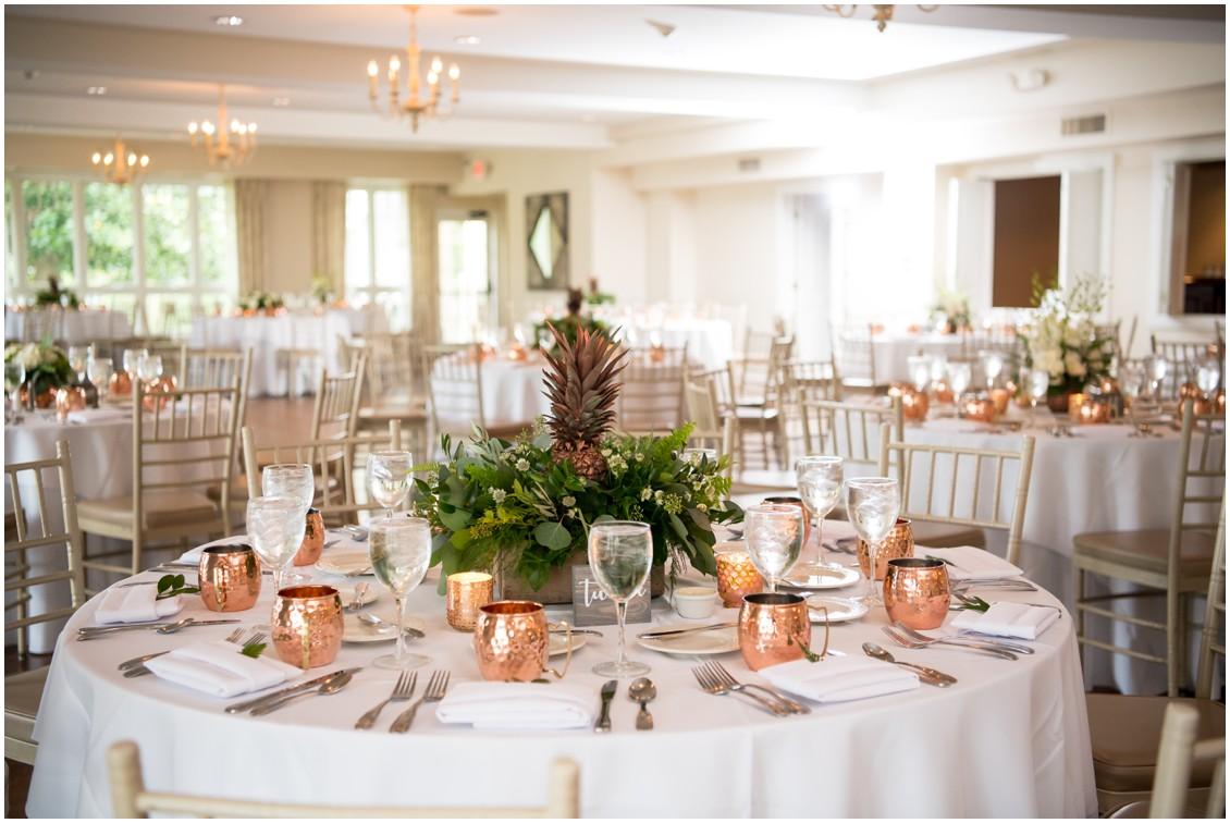 Pineapple Theme wedding centerpieces | My Eastern Shore Wedding | The Oaks | Monteray Farms