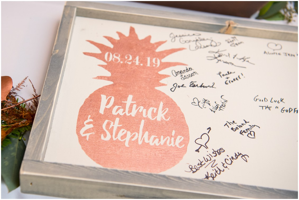 Pineapple theme guestbook | My Eastern Shore Wedding | The Oaks | Monteray Farms