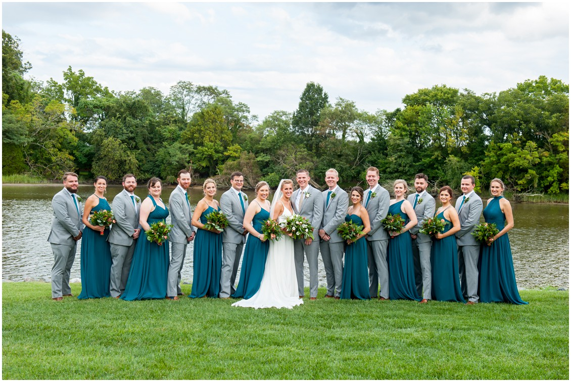 Bride with bridesmaids in teal dresses and bridal party| My Eastern Shore Wedding | The Oaks Waterfront Inn | Monteray Farms
