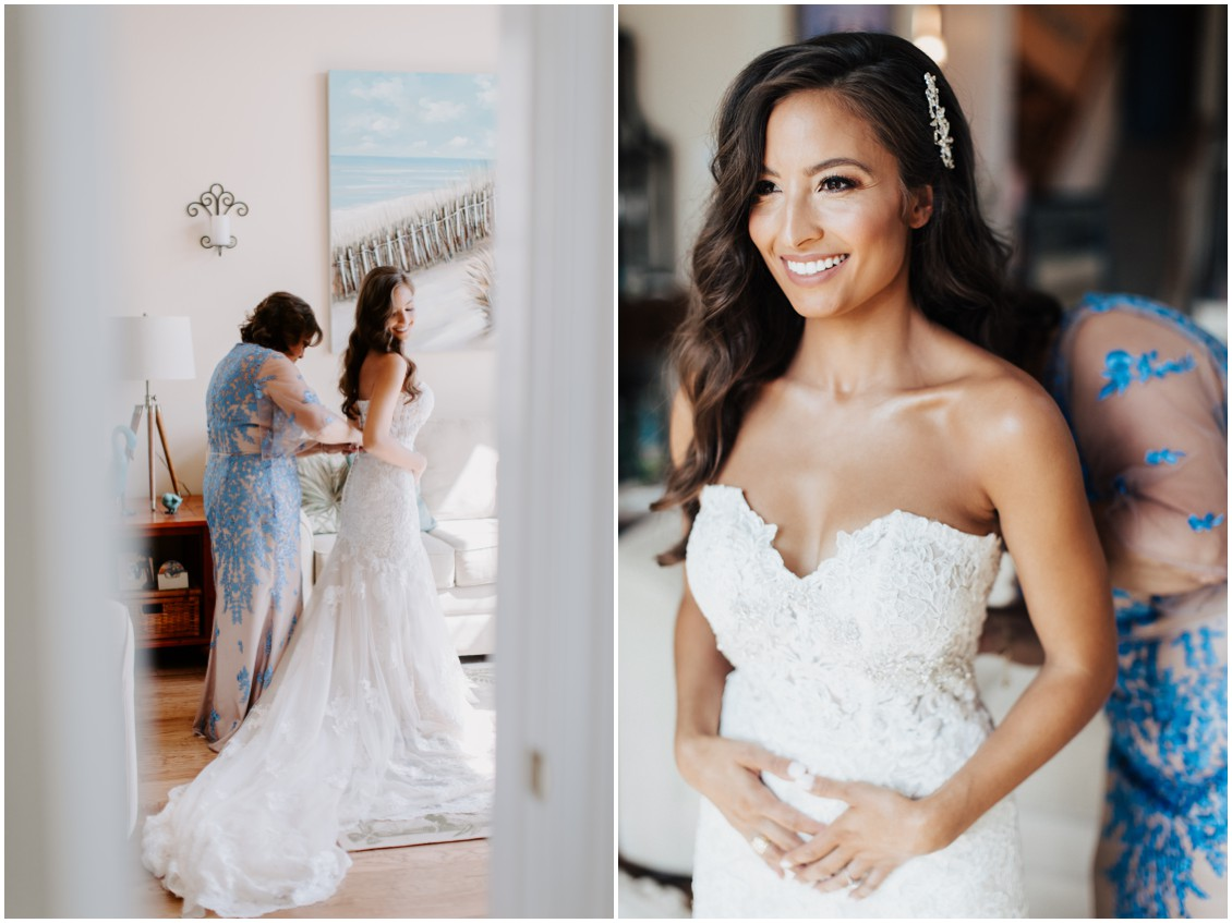 Bride getting ready small wedding lots of heart | My Eastern Shore Wedding | Bayside Resort