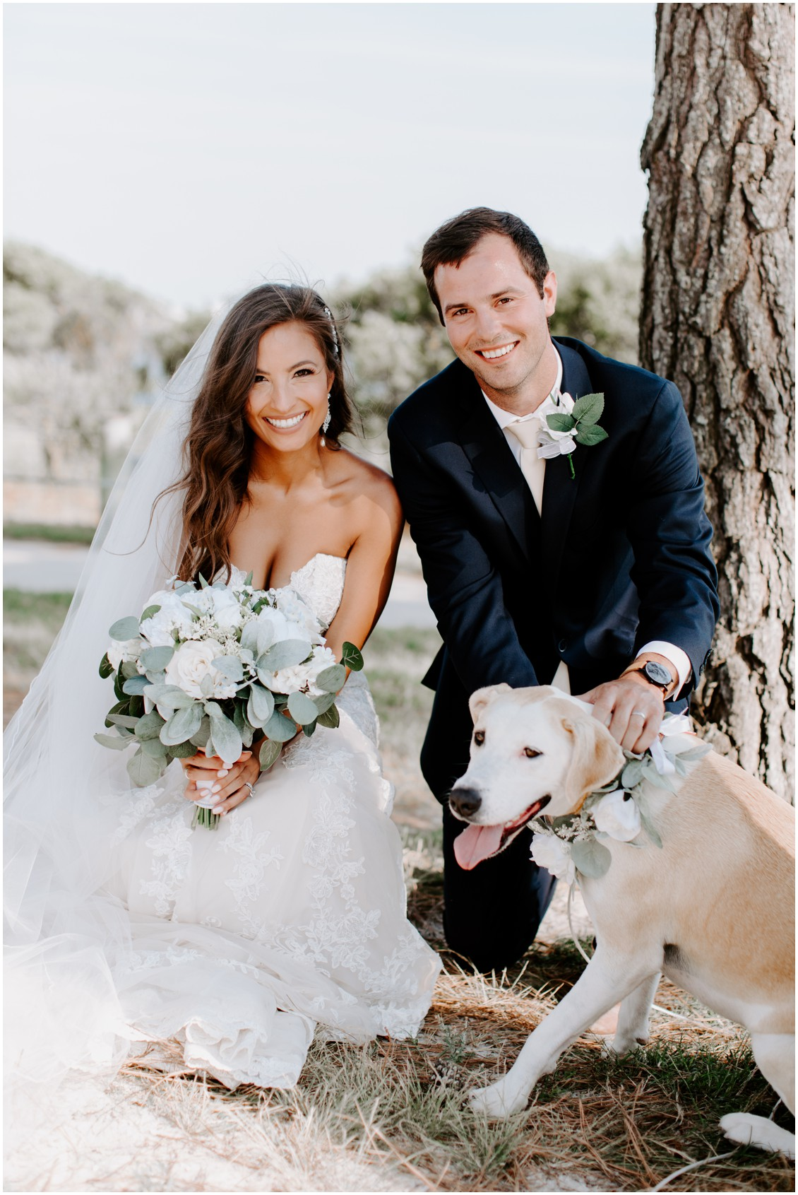 Bride and groom wit dog small wedding with a lot of heart | My Eastern Shore Wedding | Bayside Resort