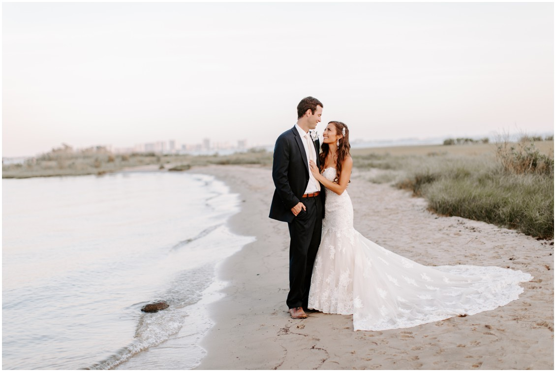 Bride and Groom portrait on the beach | My Eastern Shore Wedding | Bayside Resort