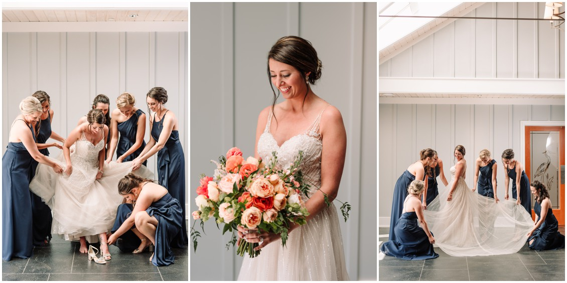 Bride with bridesmaids in dark blue and bright bouquet at bayside celebration | My Eastern Shore Wedding | Chesapeake Bay Beach Club