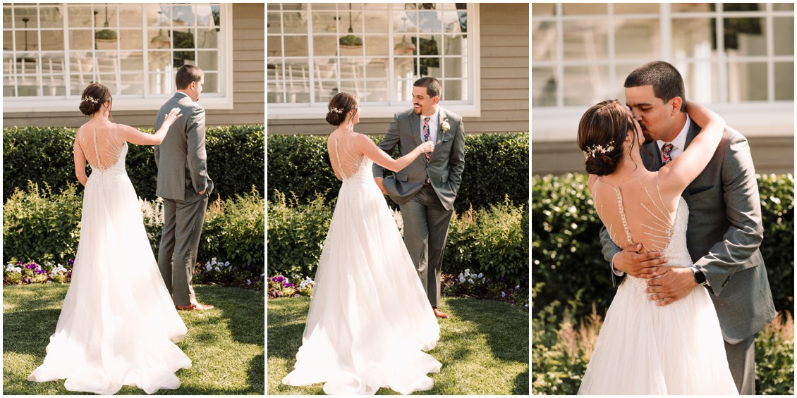 First look series bride and groom at bayside celebration | My Eastern Shore Wedding | Chesapeake Bay Beach Club