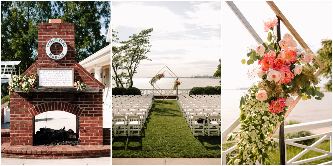 details of ceremony site, geometric arch with bright flowers view of the Bay | My Eastern Shore Wedding | Chesapeake Bay Beach Club