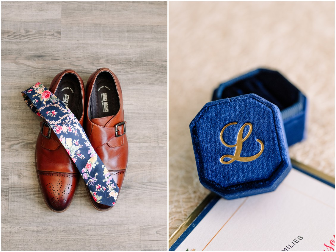 Bright floral tie for groom and details of bayside celebration | My Eastern Shore Wedding | Chesapeake Bay Beach Club