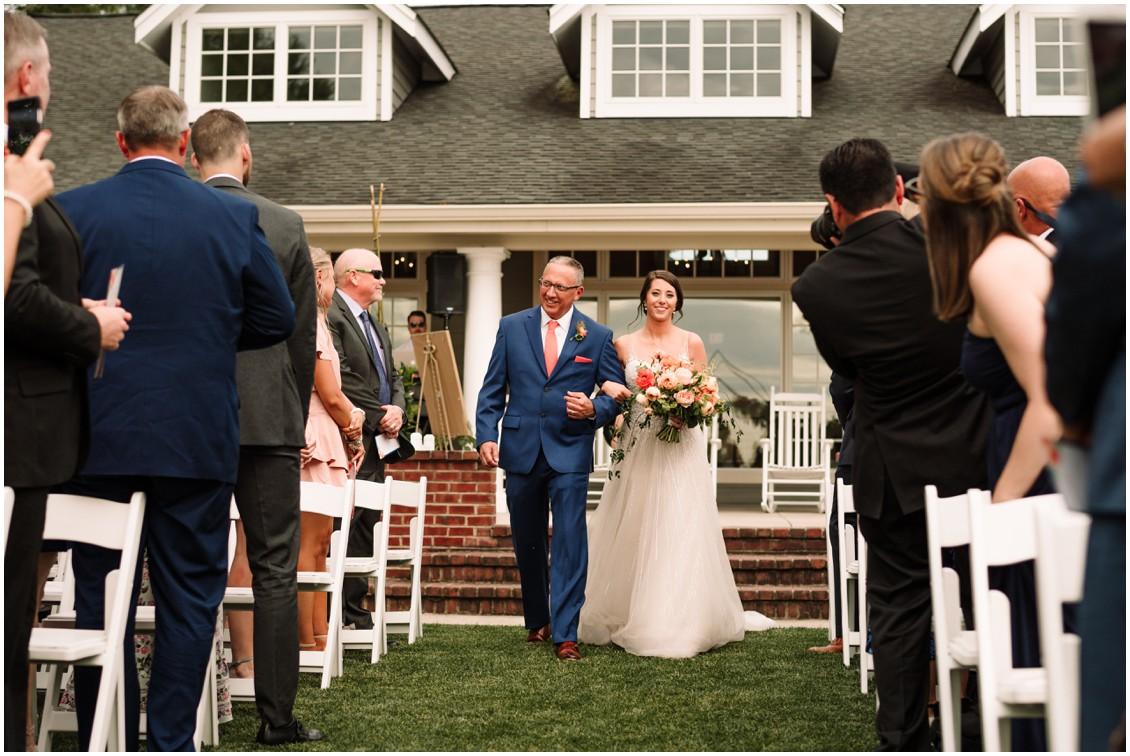 Father and Bride walking towards altar | My Eastern Shore Wedding | Chesapeake Bay Beach Club