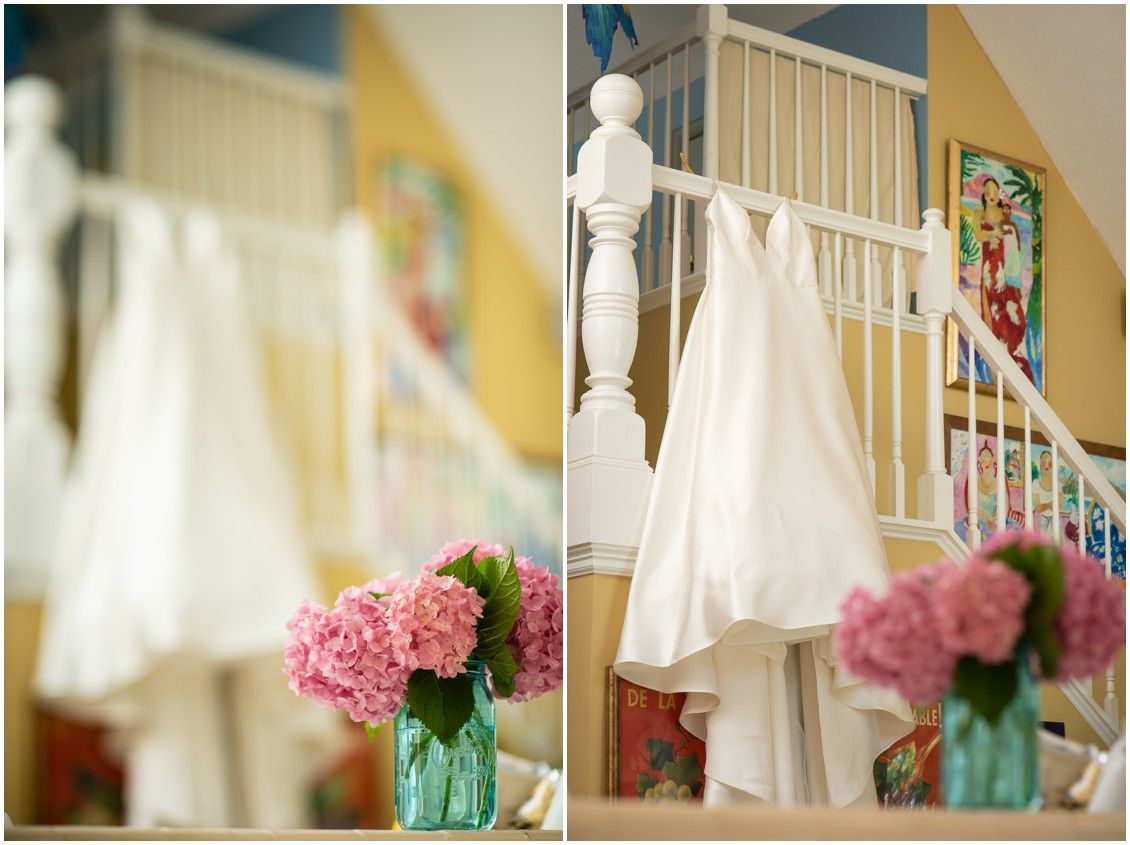 Bridal Gown Hanging from stairs, classic EAstern Shore Hydrangeas | My Eastern Shore Wedding