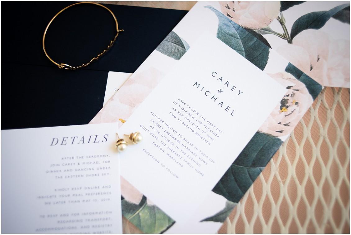 Wedding Invitation, flat lay and details | My Eastern Shore Wedding