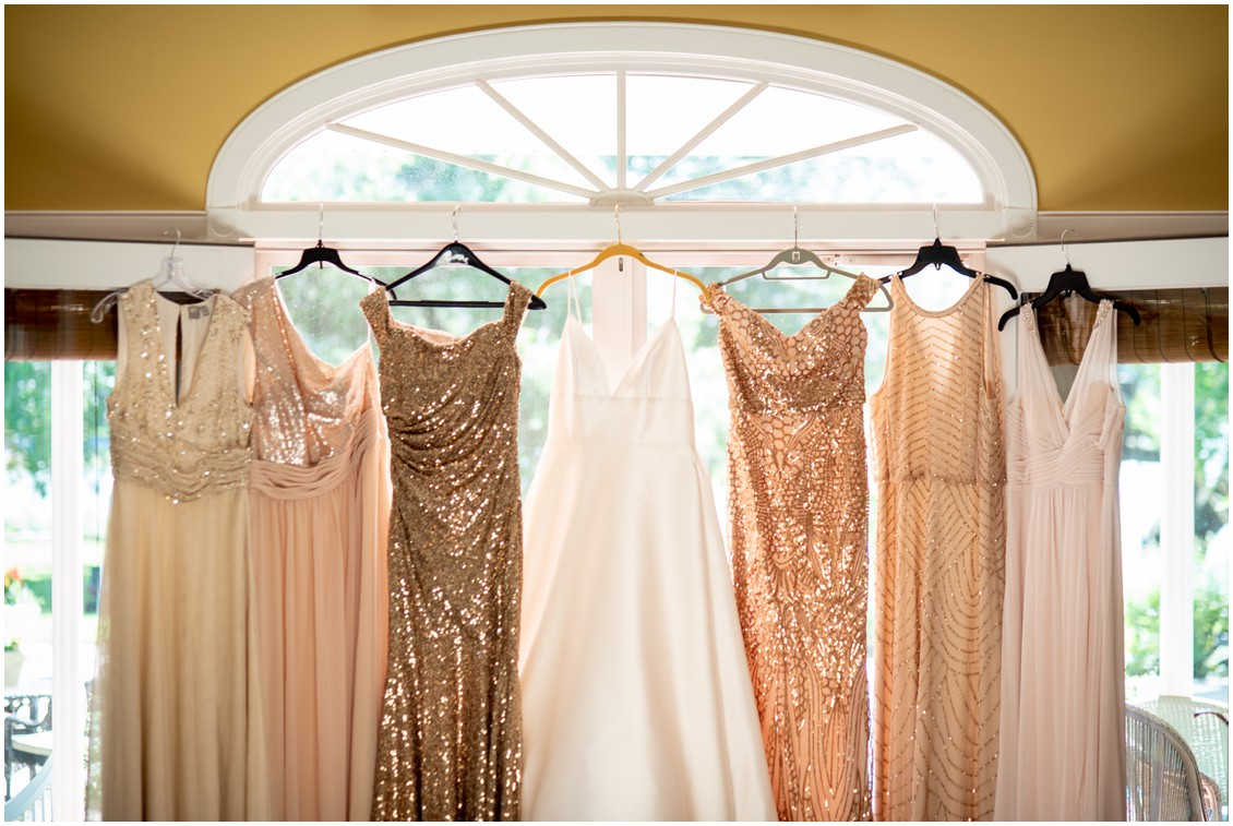 BRidal gown and bridesmaid dresses i n shades of rose gold | My Eastern Shore Wedding