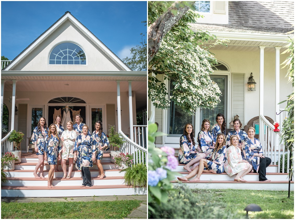 bride and bridesmaids in matching getting ready robes | My Eastern Shore Wedding