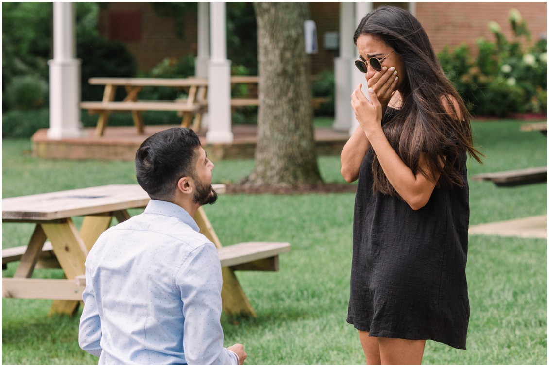 Man proposing marriage in sweet surprise engagement session | My Eastern Shore Wedding | Laura's Focus Photography