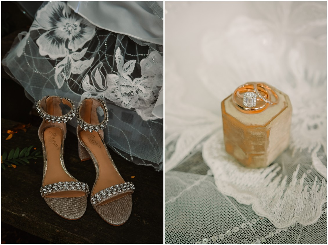 Bridal details, shoes and rings in yellow ring box | My Eastern Shore Wedding