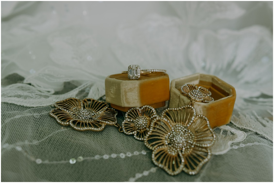 Bridal details rings and lace with yellow ring box | My Eastern Shore Wedding