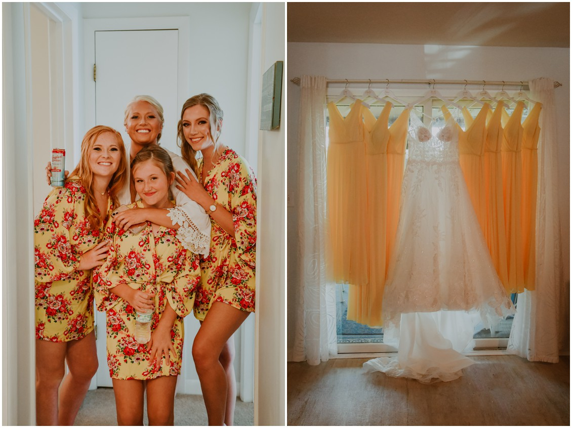 Bride and bridesmaids in sunny yellow robes, yellow dresses with bridal gown | My Eastern Shore Wedding